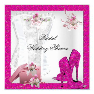 Pretty Bridal Shower White Pink Corset High Heels 13 Cm X 13 Cm Square Invitation Card
