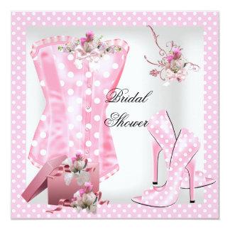 Pretty Bridal Shower White Pink Corset Polka Dots Announcement