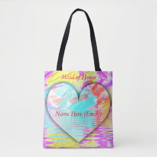 Pretty Bridesmaid Customizable Pastel Heart Tote Bag