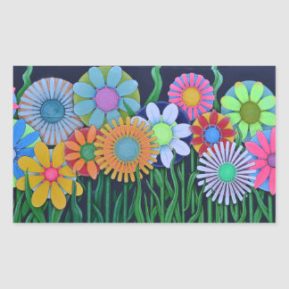 Pretty Bright Colorful Flowers Stikcer Rectangular Sticker
