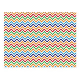 Pretty Bright Colorful Zig Zag Chevron Stripes Postcards