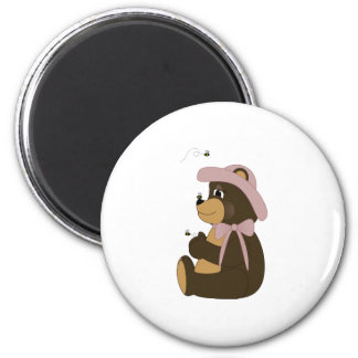 Pretty Brown Bear With Bees Fridge Magnets