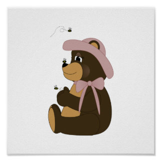 Pretty Brown Bear With Bees Print