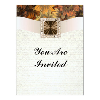 "Pretty brown floral daisy & vintage damask 6.5"" x 8.75"" invitation card"