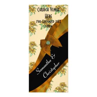 Pretty brown floral wedding program rack card template