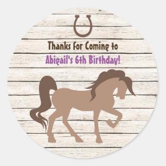 Pretty Brown Horse and Barn Wood Girls Birthday Classic Round Sticker