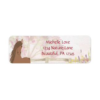 Pretty Brown Horse and Flowers Address Return Address Label