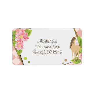 Pretty Brown Horse and Pink Flowers Label