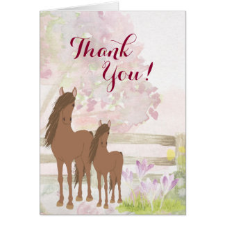 Pretty Brown Mare, Foal, Flowers Horse Thank You Card