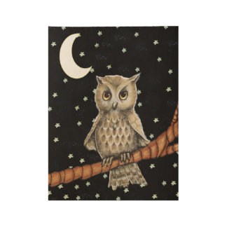 Pretty Brown Owl Necklace on Branch Moon Stars Wood Poster