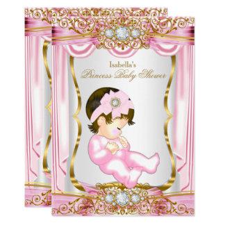 Pretty Brunette Princess Baby Shower Pink Silk Card