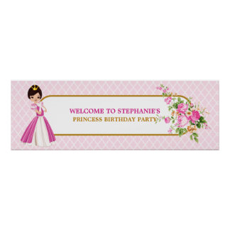 Pretty Brunette Princess Birthday Party Banner Poster