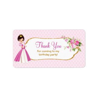 Pretty Brunette Princess Birthday Thank You Labels