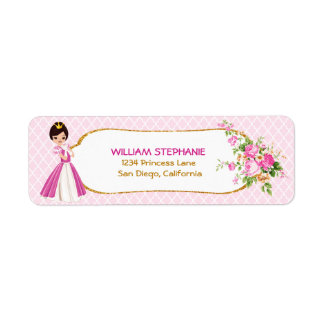 Pretty Brunette Princess Return Address Labels