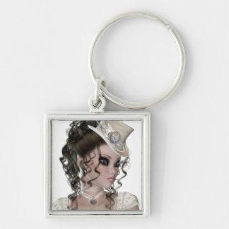 Pretty Brunette Woman Silver-Colored Square Key Ring