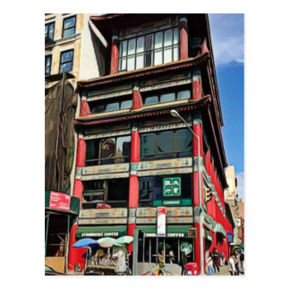 Pretty Buildings in Chinatown in NYC Postcard