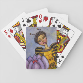 Pretty Bumble Bee Fairy Purple Flower Playing Cards