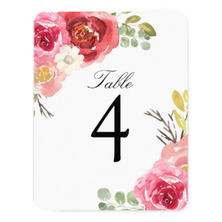 Pretty Burgundy and Pink Table Number Cards