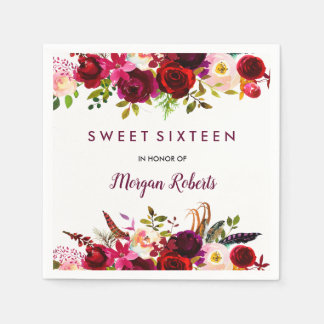 Pretty Burgundy Red Floral Sweet 16 Paper Napkin