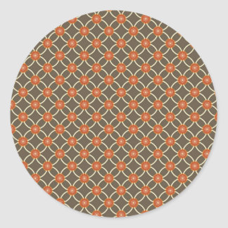 Pretty Burnt Orange and Brown Fall Pattern Gifts Classic Round Sticker