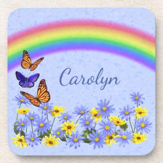 Pretty Butterflies and Daisies Spring Garden Coaster