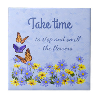 Pretty Butterflies and Daisies Spring Garden Small Square Tile