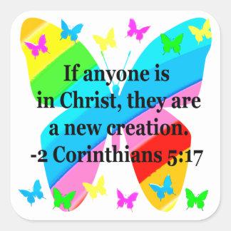 PRETTY BUTTERFLY 2 CORINTHIANS 5:17 DESIGN SQUARE STICKER