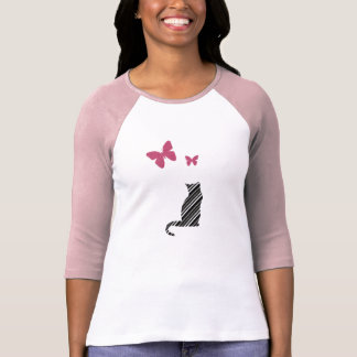 Pretty Butterfly  And Cat Tee Shirt