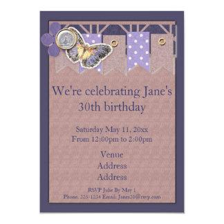 Pretty Butterfly Banner Birthday Custom Announcement
