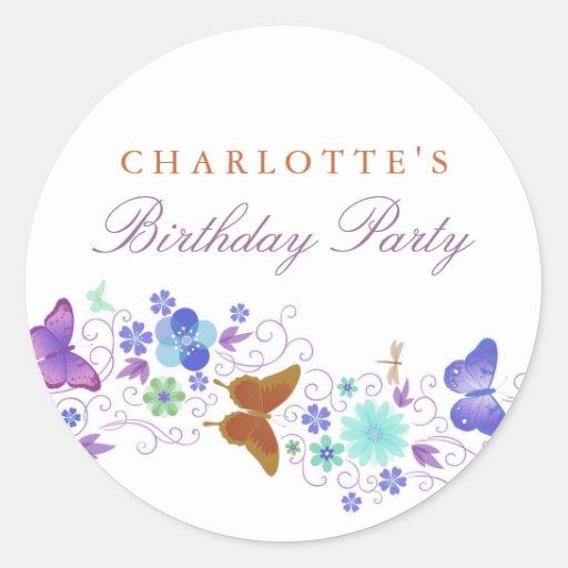 Pretty Butterfly Birthday Sticker