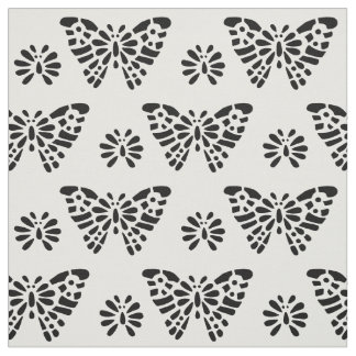 Pretty  Butterfly - Black and White pattern Fabric