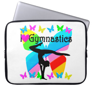 PRETTY BUTTERFLY I LOVE GYMNASTICS DESIGN LAPTOP COMPUTER SLEEVES