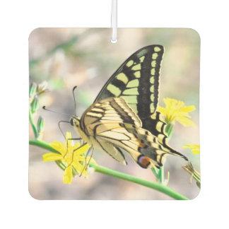Pretty Butterfly on Yellow Flower Car Air Freshener