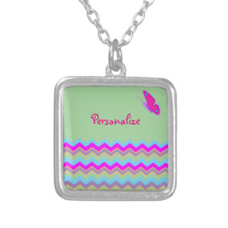 Pretty Butterfly & Stripes Square Pendant Necklace