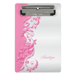 Pretty Candy Pink Ornate on White Satin Design Mini Clipboard