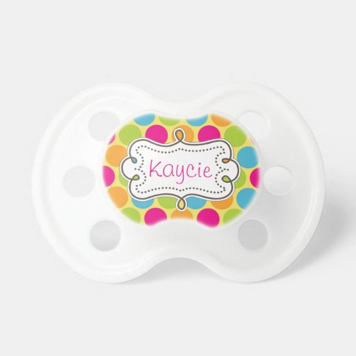 Pretty Carnival Candy Colored Polkadots Baby Pacifier
