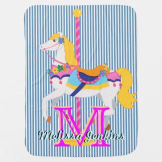 pretty carousel horse name  initial baby blanket