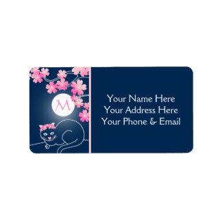Pretty Cat Cherry Blossoms Moon Pink Sakura Blue Address Label