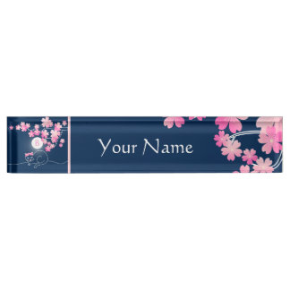 Pretty Cat Cherry Blossoms Moon Pink Sakura Blue Name Plate
