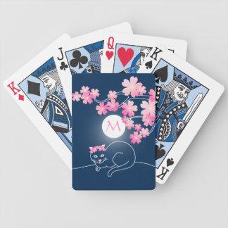 Pretty Cat Cherry Blossoms Moon Pink Sakura Blue Poker Deck