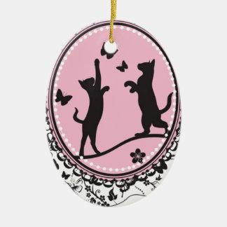 Pretty Cat Ceramic Oval Decoration