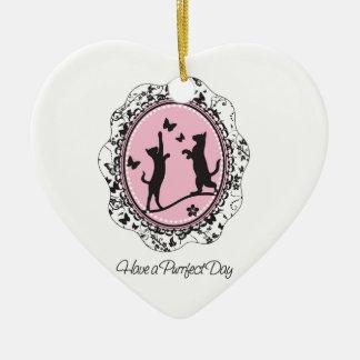 Pretty Cat Ceramic Heart Decoration