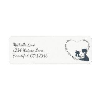 Pretty Cat, Kitten and Flower Heart Address Return Address Label