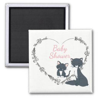 Pretty Cat, Kitten, Flower Heart Girls Baby Shower Magnet