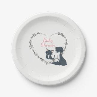 Pretty Cat, Kitten, Flower Heart Girls Baby Shower Paper Plate