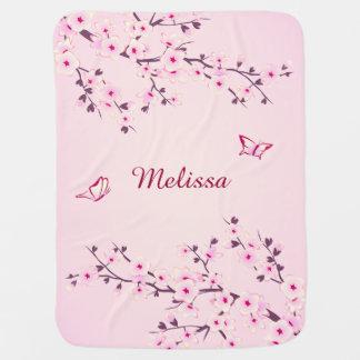 Pretty Cherry Blossoms Monogram Baby Blanket