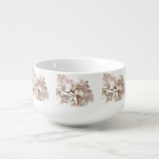 Pretty Cherry Blossoms Soup Bowl With Handle
