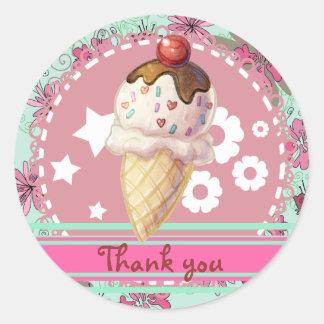 Pretty Cherry Icecream Round Sticker