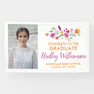 Pretty Chic Floral Graduate Photo Graduation Party Banner