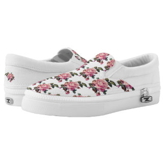 Pretty Chic Pink Rose Flower Floral Pattern Slip On Shoes
